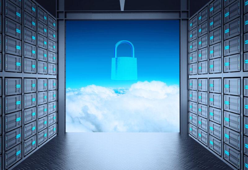 3d Netzwerk Serverraum und Cloud draußen als Konzept