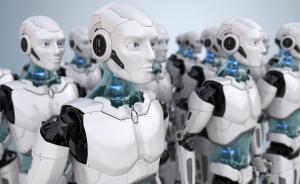 Künstliche Intelligenz dargestellt als humanoide Roboter